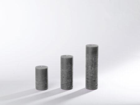 Blockkerzen grau