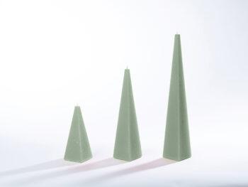 Pyramidenkerzen grau-grün
